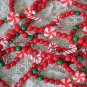WHIMSICAL PEPPERMINT CANDY & CANDY CANES FAUX CHRISTMAS GARLAND **SO CUTE** NEW