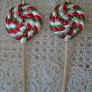 SET # 2 TWO WHIMSICAL PEPPERMINT CANDY LOLLIPOP BLOWN GLASS CHRISTMAS ORNAMENTS