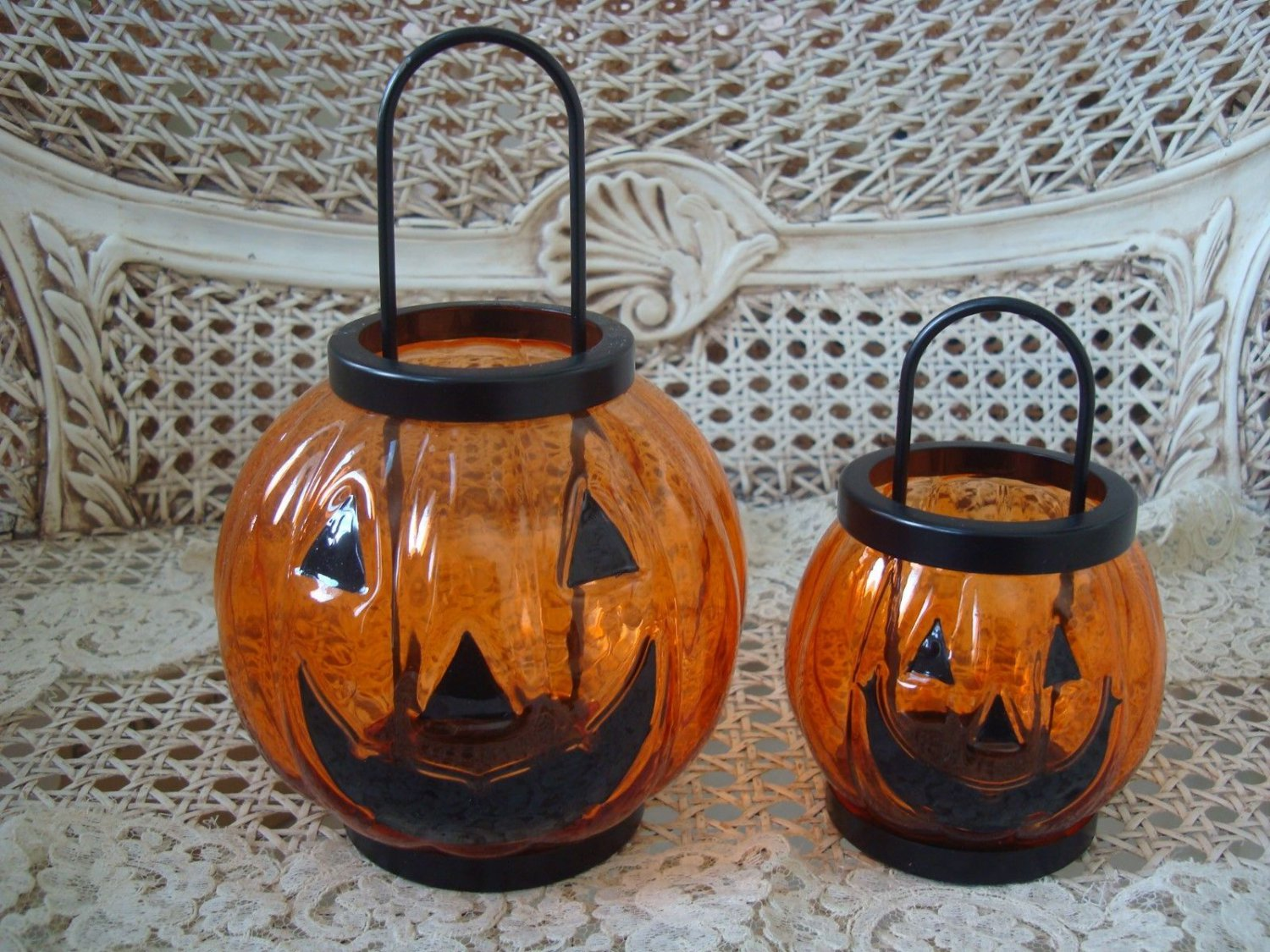 YANKEE CANDLE HALLOWEEN PUMPKIN TEALIGHT HOLDERS GLASS SMALL & LARGE **RETIRED**