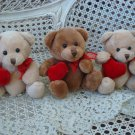 THREE CUTE GANZ VALENTINE'S DAY TEDDY BEARS WITH HEARTS ****ADORABLE**** NEW