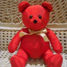 SMALL RED MOIRE FABRIC CHRISTMAS TEDDY BEAR *NEW* *SO CUTE**