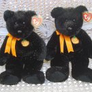 2 HALLOWEEN TY BEANIE BUDDY BEARS WITH PUMPKINS & SPARKLING FUR **SO CUTE**