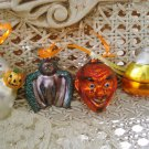 4 BLOWN GLASS HALLOWEEN ORNAMENTS GHOST BAT CANDY CORN & DEVIL***SO CUTE***