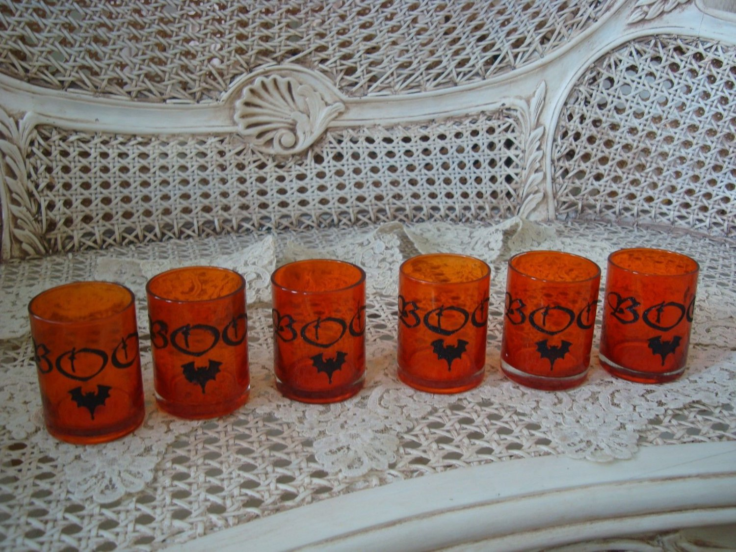 6 HALLOWEEN GLITTER BOO BAT ORANGE GLASS VOTIVE CANDLE HOLDERS **SO CUTE**