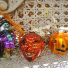 4 BLOWN GLASS HALLOWEEN ORNAMENTS PUMPKIN, CANDY CORN WITCH & DEVIL **SO CUTE**