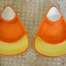 2 HALLMARK CANDY CORN HALLOWEEN CANDY DISHES RETIRED ***SO CUTE****