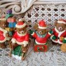 4 CHRISTMAS TEDDY BEAR ORNAMENTS SANTA JACK IN THE BOX PRESENTS  **SO CUTE* NEW