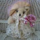 """GORGEOUS VINTAGE 12"""" TALL TEDDY BEAR WITH EYELASHES & ROSE ***GREAT FOR EASTER** SO CUTE"""