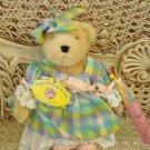ADORABLE 1996 BEAR IN PRETTY PASTEL COLORED EASTER DRESS **SO CUTE**