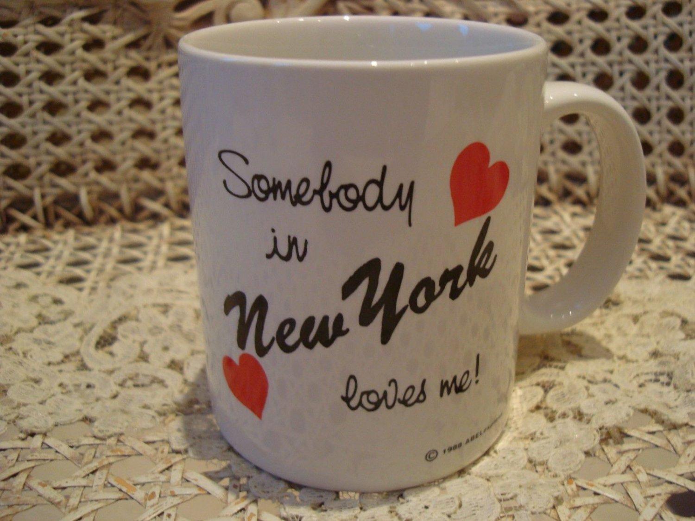 SOMEBODY IN NEW YORK LOVES ME CERAMIC MUG ***NEW*** SO CUTE