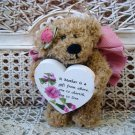 A MOTHER IS A GIFT FROM ABOVE MAUVE BEAR ORNAMENT WITH WOODEN HEART SO CUTE