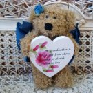 A GRANDMOTHER IS A GIFT FROM ABOVE BLUE BEAR ORNAMENT WITH WOODEN HEART SO CUTE