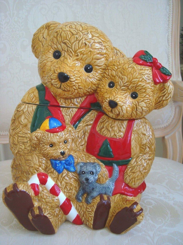ADORABLE CHRISTMAS BEAR FAMILY CHRISTMAS COOKIE JAR *NEW*