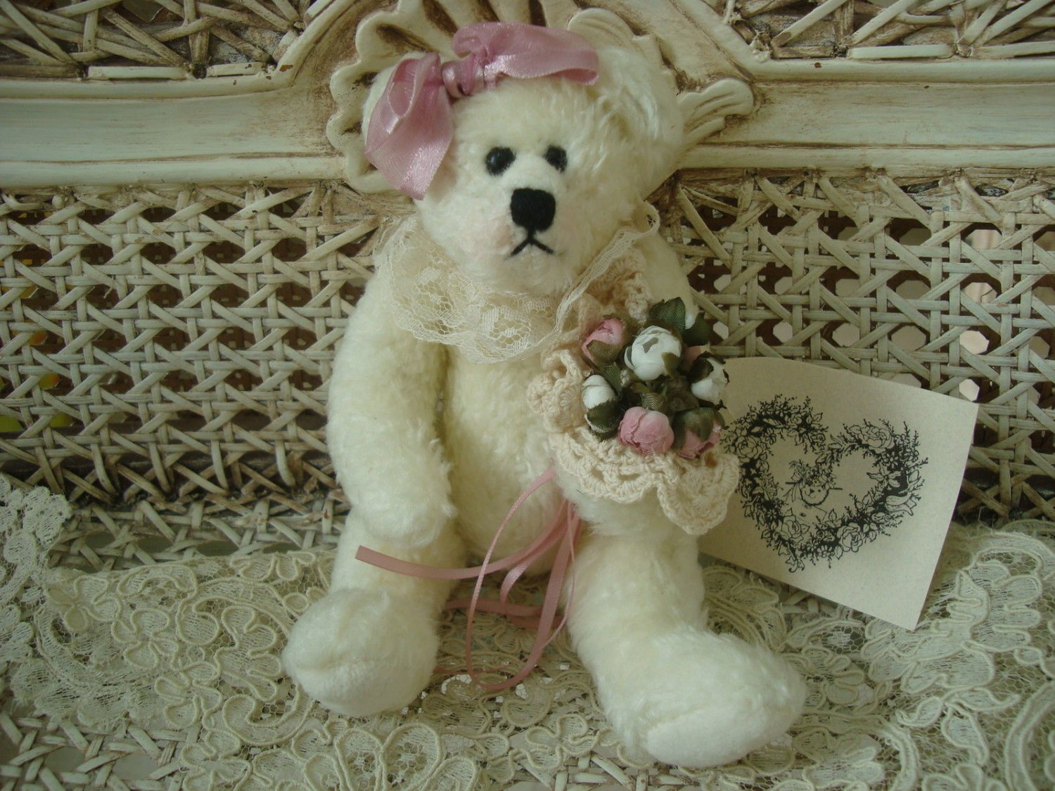 "TILDEN MANOR SNOWBALL BEAR 8"" TALL **SO CUTE** EASTER & SPRING"
