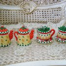 MARY ENGELBREIT SET OF 4 WHIMSICAL TEAPOT GINGERBREAD MAN CHRISTMAS ORNAMENTS