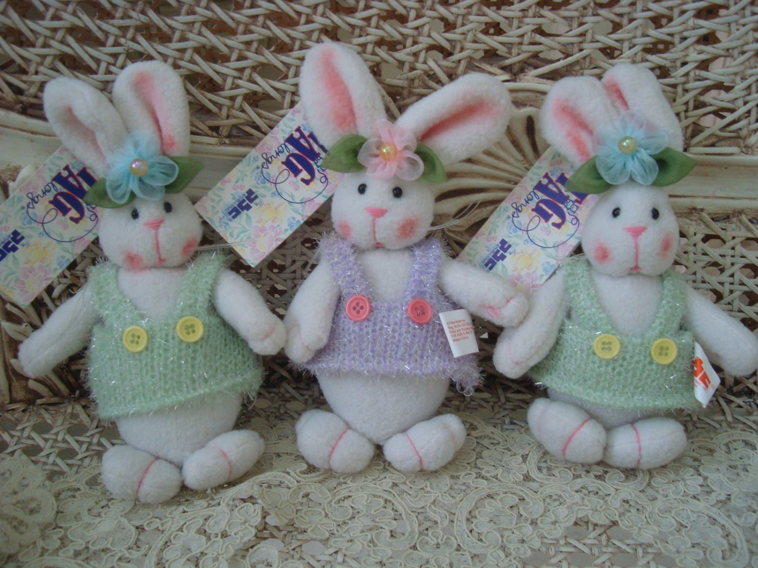 "ADORABLE SET OF 3 CUTE 8"" TALL EASTER BUNNIES **SO CUTE**"