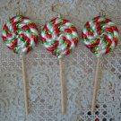 THREE WHIMSICAL PEPPERMINT CANDY LOLLIPOP BLOWN GLASS CHRISTMAS ORNAMENTS