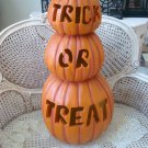 "GRANDIN ROAD HALLOWEEN HUGE LIGHT UP TRICK OR TREAT STACKED PUMPKINS 29"" TALL"