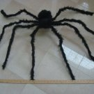 HUGE BLACK SPIDER WITH  RED EYES HALLOWEEN DECORATION BENDABLE LEGS **CREEPY***