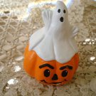 ADORABLE MINI HALLOWeeN CERAMIC GHOST WITH  PUMPKIN FIGURINE **SO CUTE**
