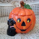 HALLOWEEN PUMPKIN WITH BLACK CAT CERAMIC BOX ***SO CUTE***