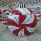 WHIMSICAL CHRISTMAS PEPPERMINT CANDY CERAMIC TEAPOT **SO CUTE**