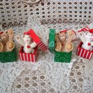 HOLLY BEARIES 4 RETIRED CHRISTMAS BEARS IN PRESENTS CHRISTMAS ORNAMENTS *NEW*