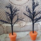 SET OF 2 FABULOUS BLACK WITH ORANGE POTS CREEPY HALLOWEEN TREES