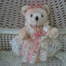 "GORGEOUS 10"" TALL TEDDYBEAR WITH LACE DRESS ROSES **GREAT FOR SPRING DECORATING*"