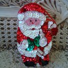 SPARKLING SANTA WITH CANDY CANE SEQUINS CHRISTMAS TRINKET BOX ORNAMENT