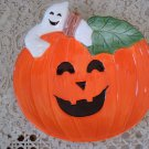FITZ & FLOYD PUMPKIN WITH GHOSTS TREATS PLATE HALLOWEEN RETIRED **SO CUTE**