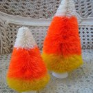 TWO WHIMSICAL CANDY CORN HALLOWEEN LARGE & SMALL TREES ***SO CUTE***