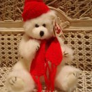 TY WHITE BEAR WITH RED CHRISTMAS HAT & SCARF ***SO CUTE*** NEW