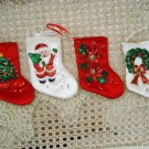 SET OF 4 BEAUTIFUL CHRISTMAS STOCKING ORNAMENTS WITH SPARKLING SEQUINS **NEW**
