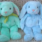 SET OF 2 ADORABLE GREEN & BLUE TY EASTER BUNNIES BEANIE BUDDIES ***RETIRED***