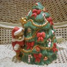ADORABLE CHRISTMAS SANTA BEAR CERAMIC CHRISTMAS TREE COOKIE JAR **SO CUTE**