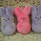 ADORABLE SET OF 3 EASTER BUNNIES ONE PINK AND TWO LAVENDER **SO CUTE**