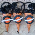 SET OF 3 BETHANY LOWE WHIMSICAL HALLOWEEN SPOOKY PAPER CANDY CONES **SO CUTE**