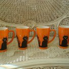 SET OF 4 HALLOWEEN BLACK CAT TALL CERAMIC  MUGS ***SPOOKY***