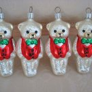 SET OF 4 CHRISTMAS BEAR WITH BOWTIES BLOWN GLASS ORNAMENTS **SO CUTE**
