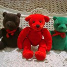 3 CUTE CHRISTMAS TEDDY BEAR BEANIES GUND *SO CUTE** NEW