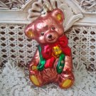 ADORABLE BROWN TEDDY BEAR WITH GLITTER LARGE CHRISTMAS ORNAMENT **NEW** CUTE