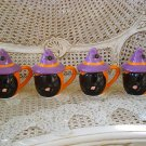 SET OF 4 HALLMARK HALLOWEEN WITCH BLACK CAT MUGS RETIRED ****SO CUTE****