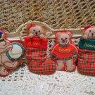 4 HARRODS OF LONDON CHRISTMAS TEDDY BEAR ORNAMENTS *NEW* **SO CUTE***