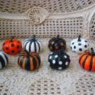 SET OF 8 SMALL HALLOWEEN GLITTER PUMPKINS POLKA DOTS & STRIPES **SO CUTE**