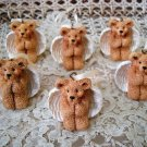 HOLLY BEARIES 6 RETIRED CHRISTMAS MINI ANGEL BEARS CHRISTMAS ORNAMENTS *NEW*