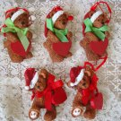 HOLLY BEARIES 5 RETIRED CHRISTMAS BEARS WITH HEARTS CHRISTMAS ORNAMENTS **NEW**