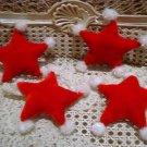 4 PRETTY RED STAR ORNAMENTS WITH POM POMS CHRISTMAS ORNAMENTS *NEW* **SO CUTE***