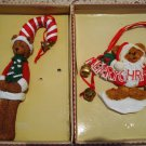 HOLLY BEARIES 2 RETIRED LARGE CHRISTMAS BEAR  ORNAMENTS **NEW WITH BOXES**