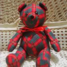 ADORABLE CHRISTMAS RED & GREEN FABRIC CHRISTMAS TEDDY BEAR *NEW* *SO CUTE**